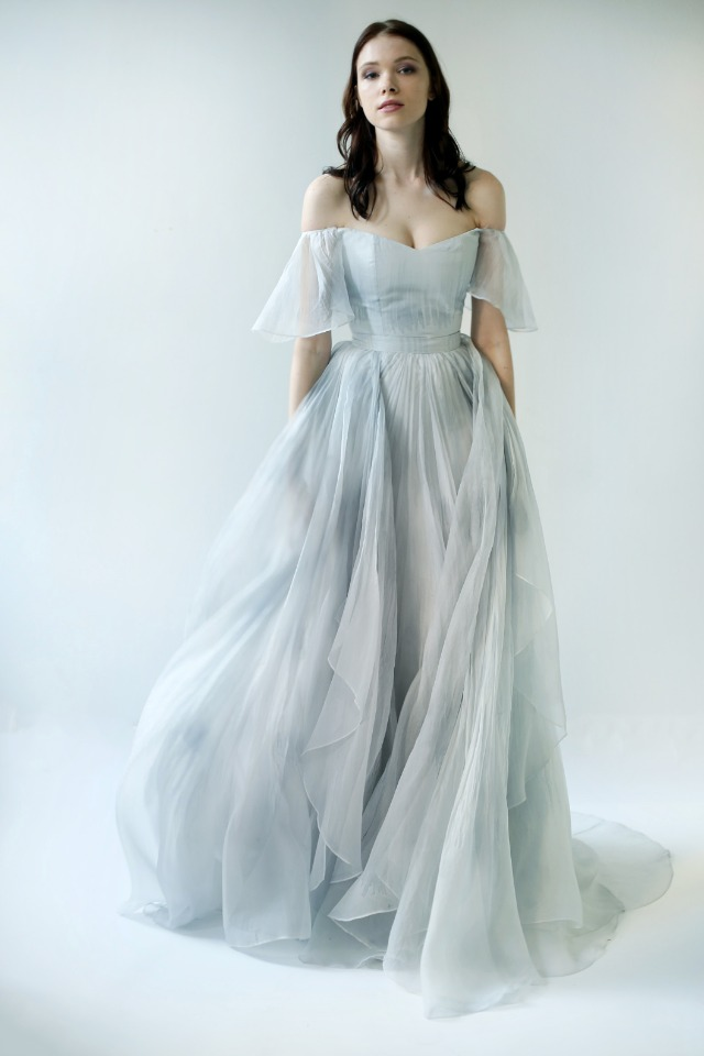Chiffon blue wedding dress.
