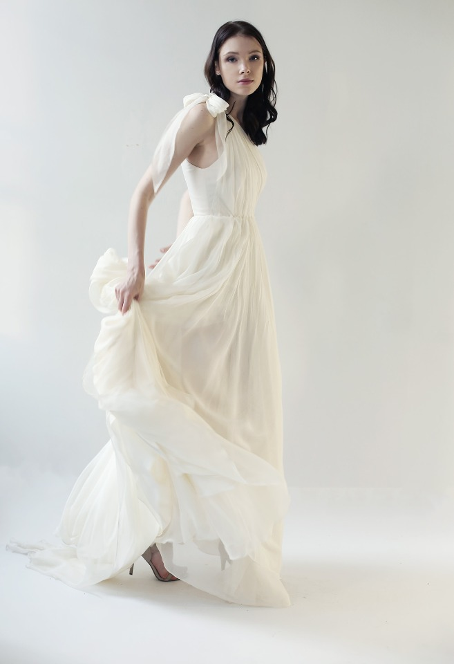 White chiffon wedding gown.