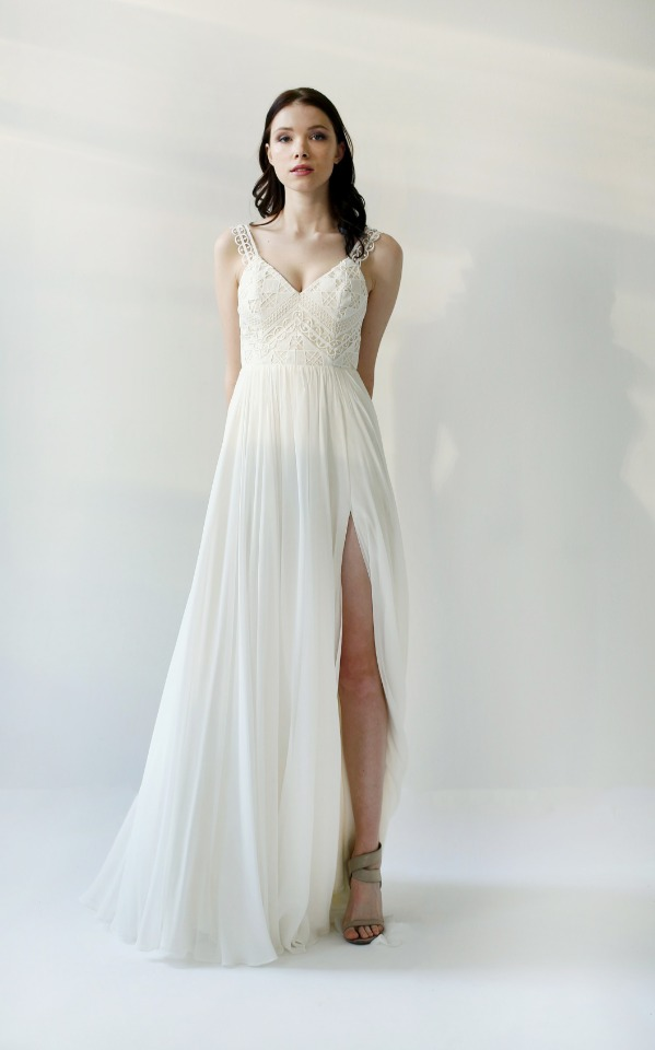 Guipure Lace wedding gown by Leanne Marshall.