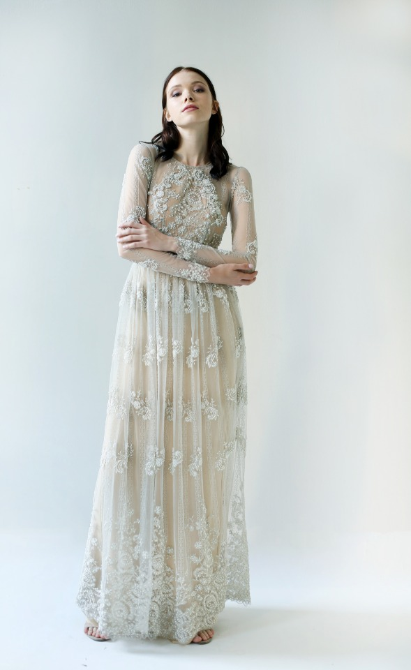 Beaded wedding gown by Leanne Marshall.