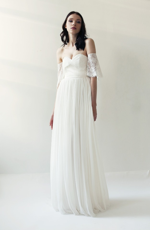 On trend off the shoulder wedding dress.