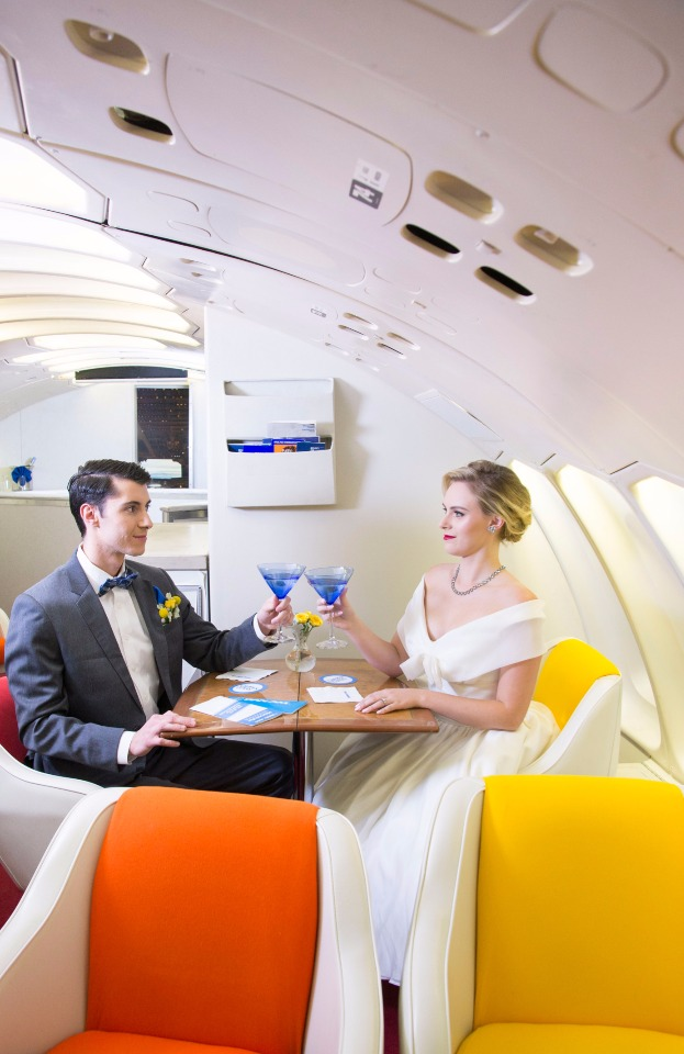 groom and bride vintage jet setters