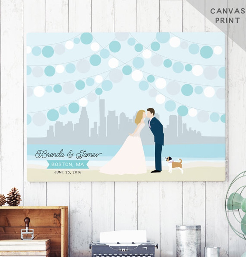 Miss Design Berry's wedding guest book alternative features a custom couple portrait with the skyline of your choice in the background
