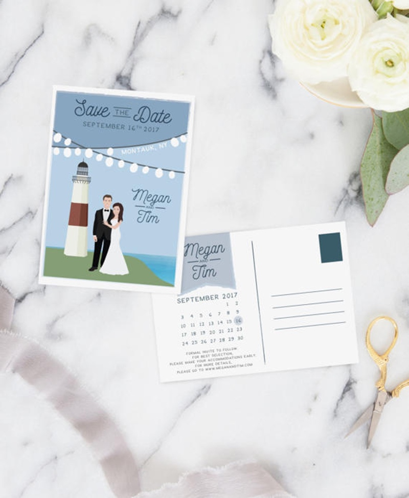 Miss Design Berry's Save the Date postcards with a Couple Portrait Illustration are the perfect way to let guests know to save the