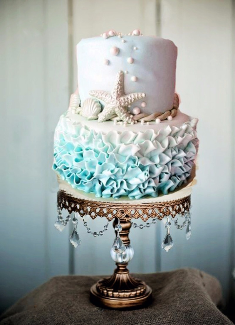 Beach Wedding Theme Cake ~ Ombre Ruffled Frosting