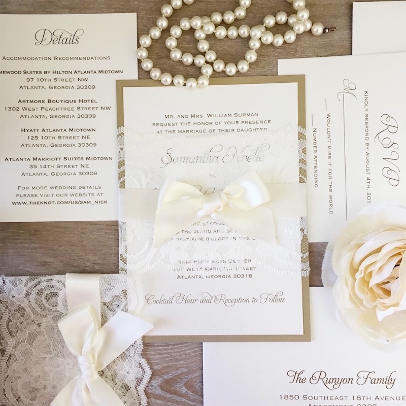 Gold and Ivory Lace Invite, Wrapped in Ivory Satin Ribbon. How romantic!