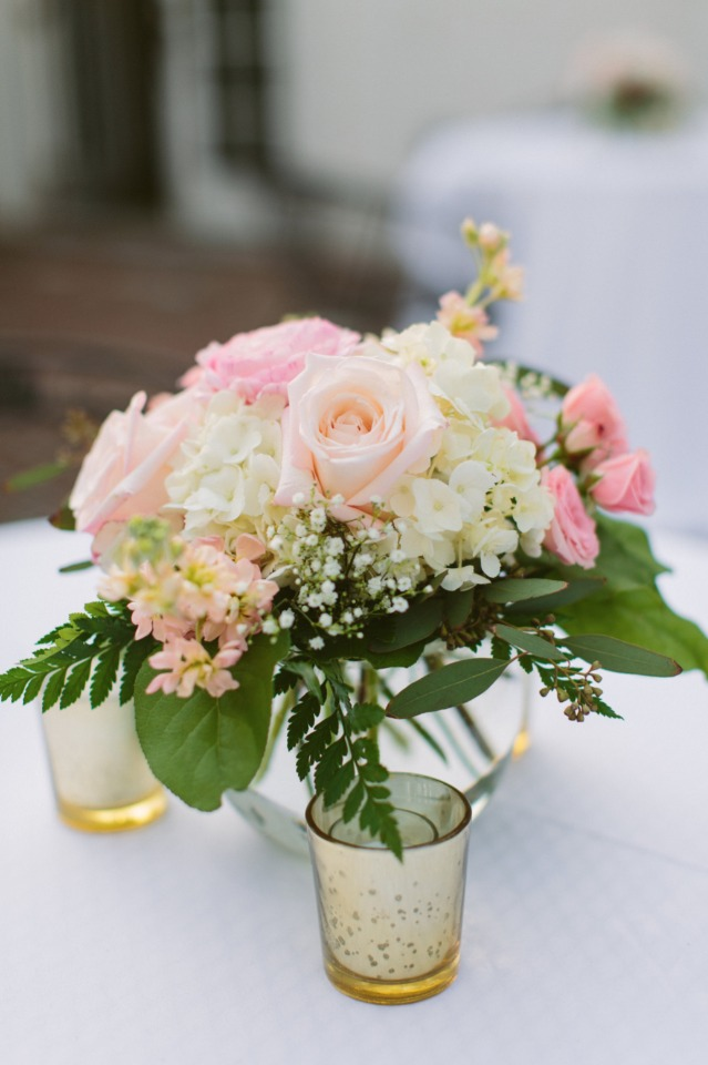 soft peach wedding and pink floral decor