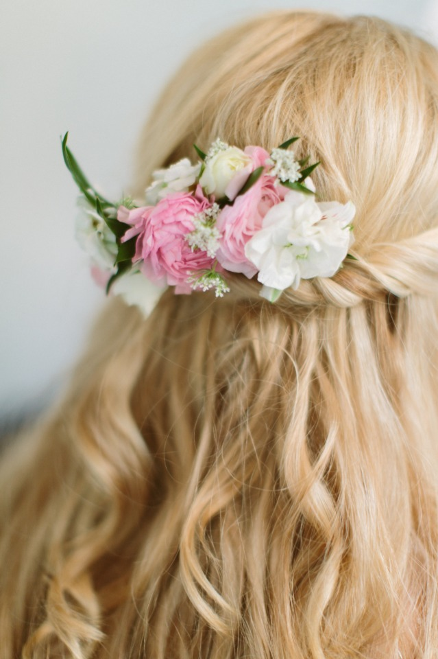 half up wedding hair with floral accents