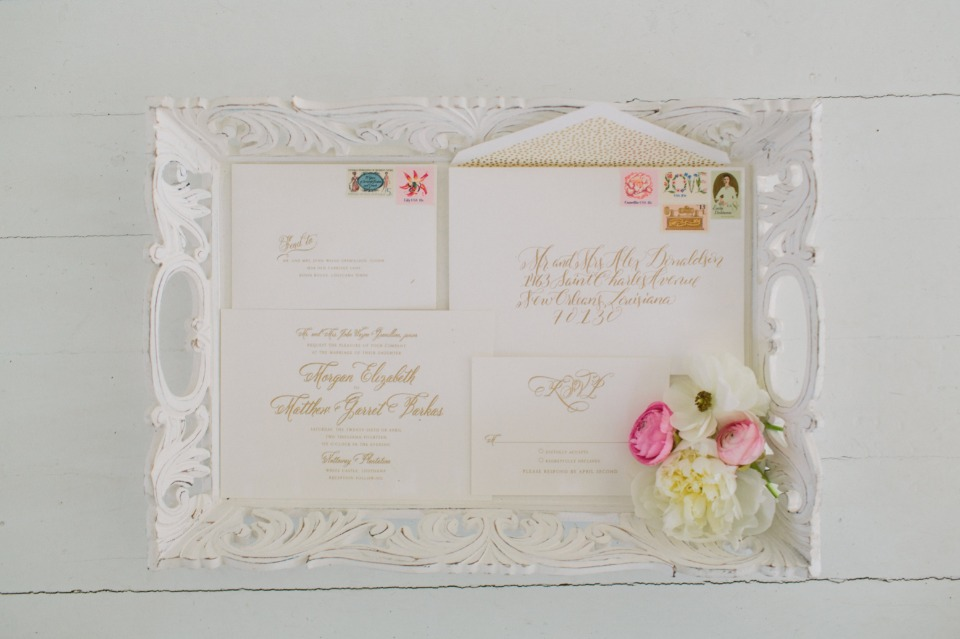 classic white and gold wedding stationery