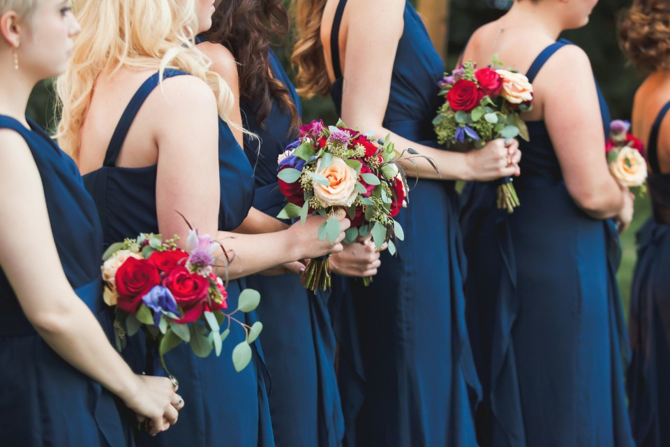 Blue dresses and red roses