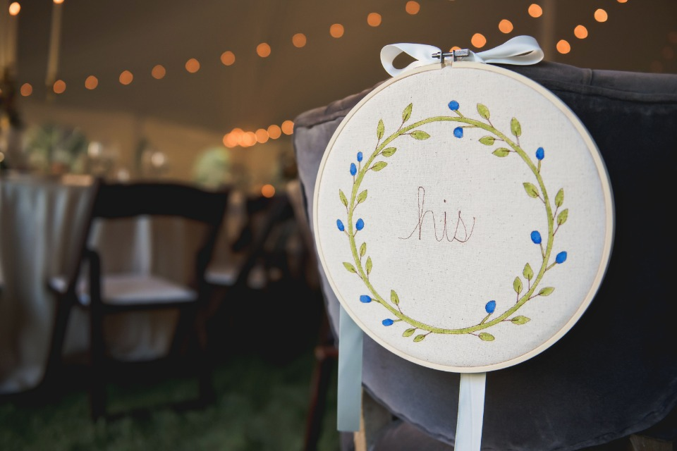 Embroidered chair sign