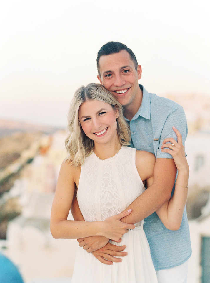 cute Greece rooftop engagement photos