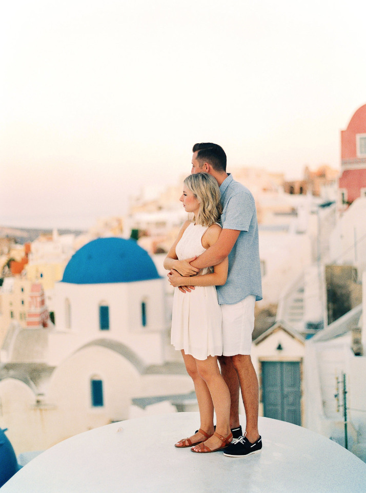 rooftop sunrise engagement session in Greece