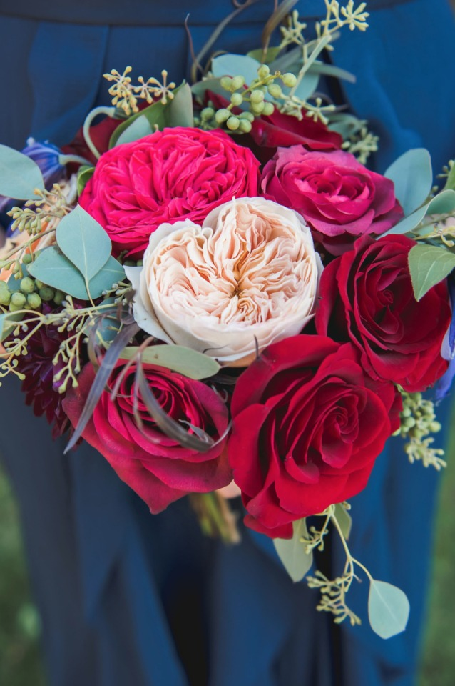 Red and blush bridesmaid bouquet