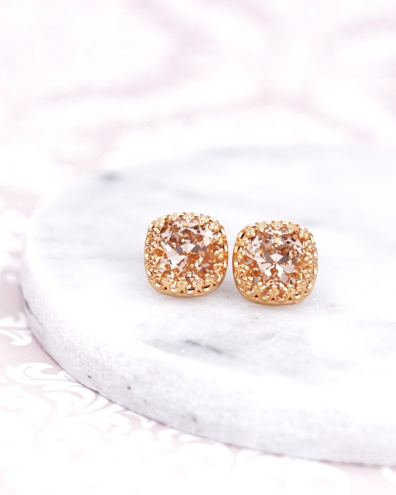 Gold Swarovski Cushion Crystal Ear Studs, champagne Wedding Bridesmaid Earrings Jewelry, bridal shower gifts, simple, gifts for her