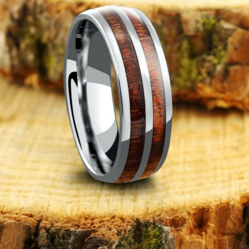Mens titanium wood wedding ring with a high polish titanium center stripe. This wooden wedding ring is 100% waterproof and extremely