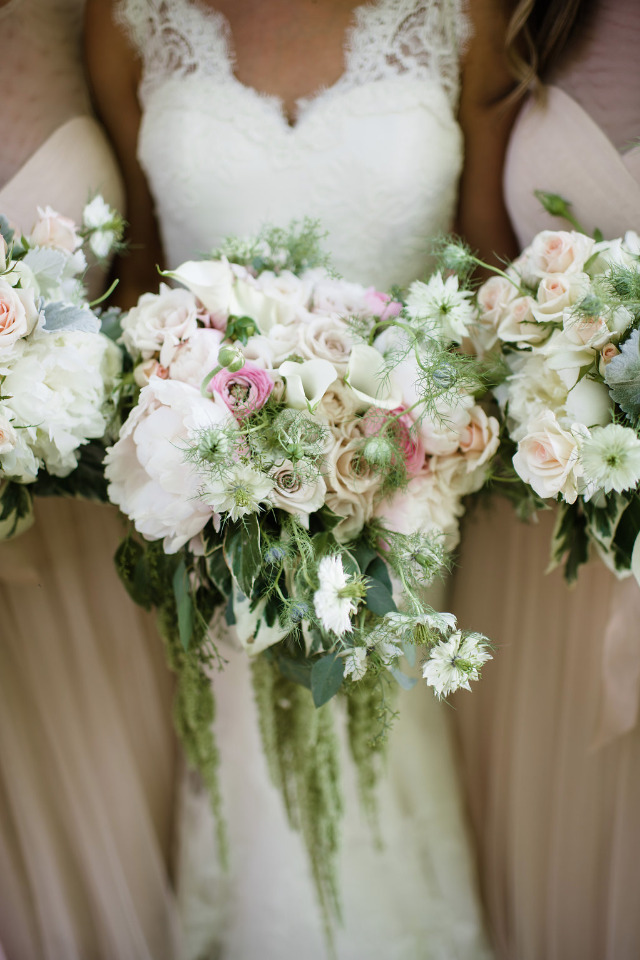 pink and white cascading wedding bouquet