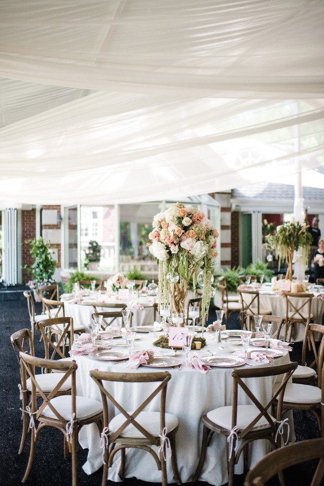 wedding reception tent with draping