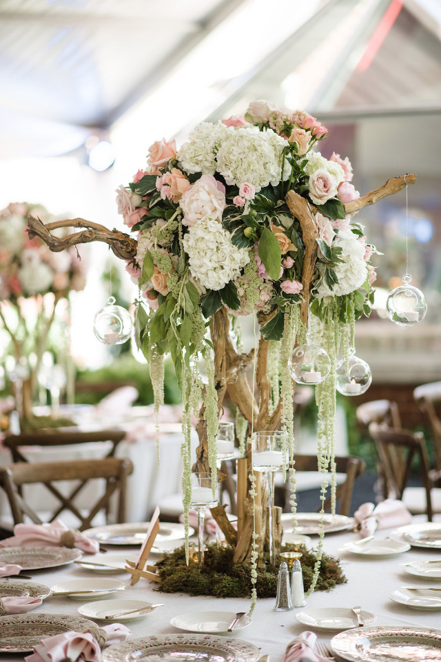 wood and floral wedding centerpiece
