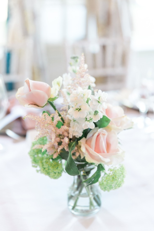 Chic blush and white centerpiece