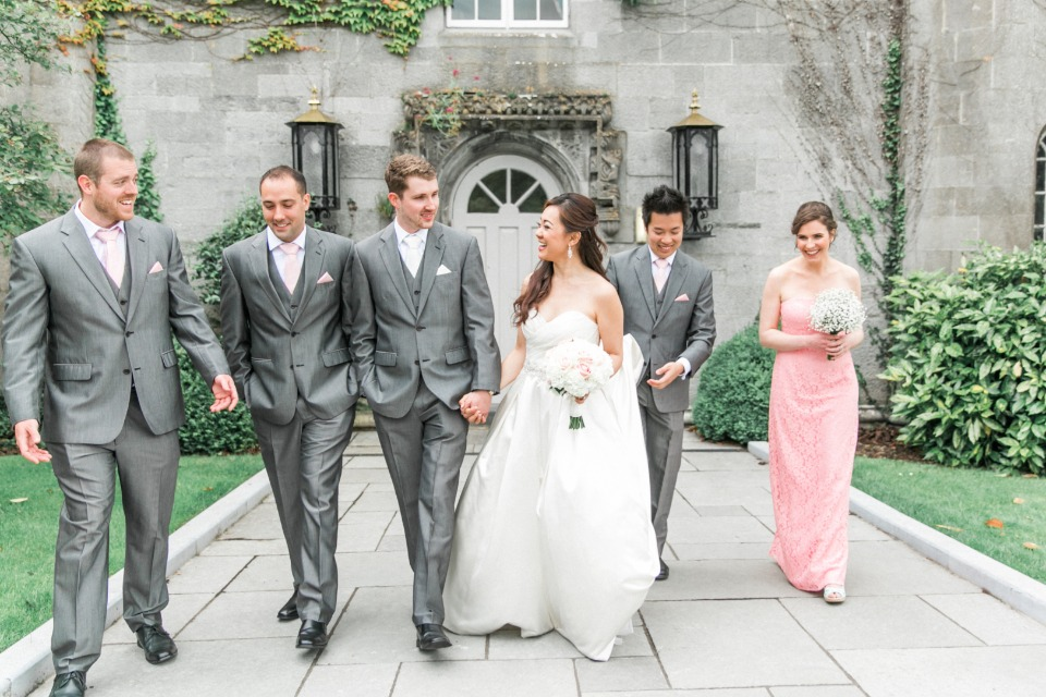 Grey and pink wedding party