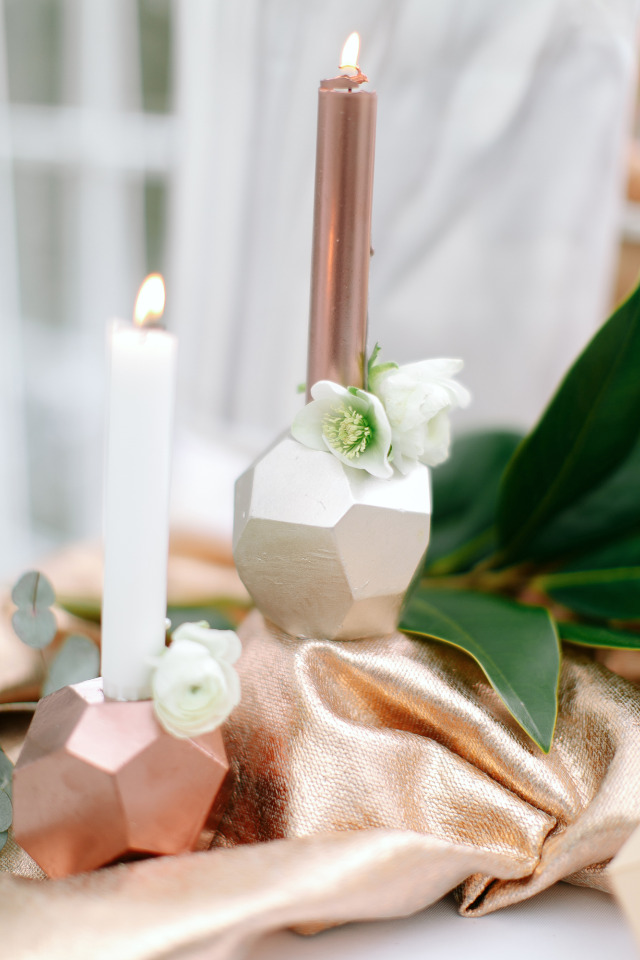 copper and white candles