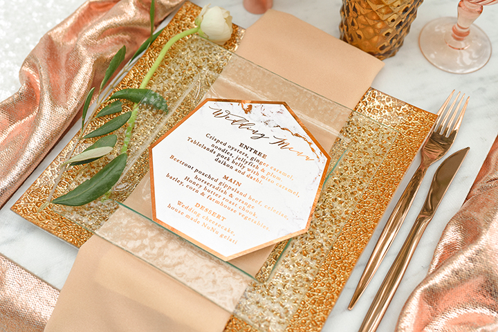 copper and marble wedding menu stationery