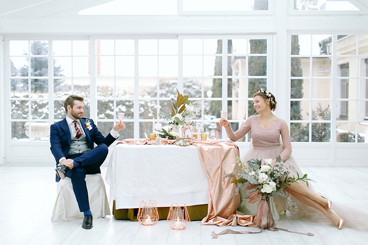 copper and white wedding reception ideas