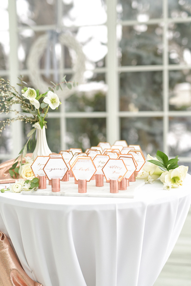 copper geometric escort cards