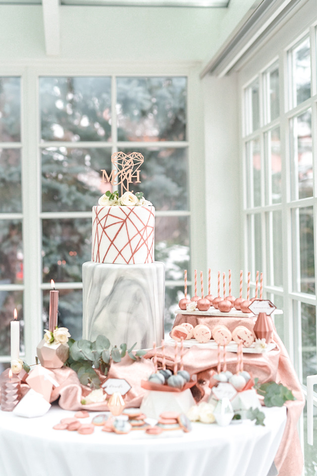 copper and marble dessert table