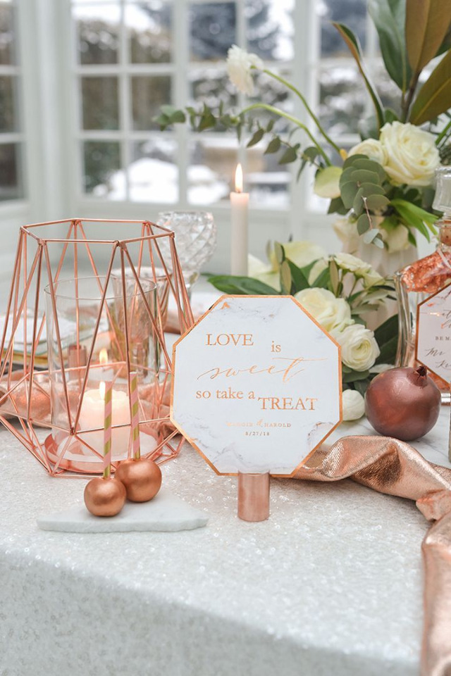 love is sweet marble and copper sign
