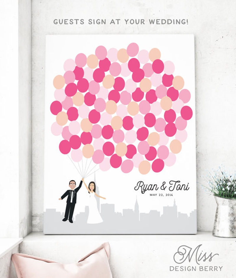 Miss Design Berry's New York City Skyline Wedding guest book canvas is the perfect alternative to a traditional guestbook.