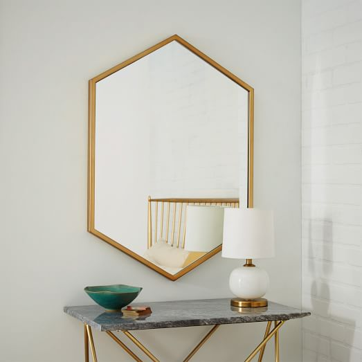 West Elm hex mirror