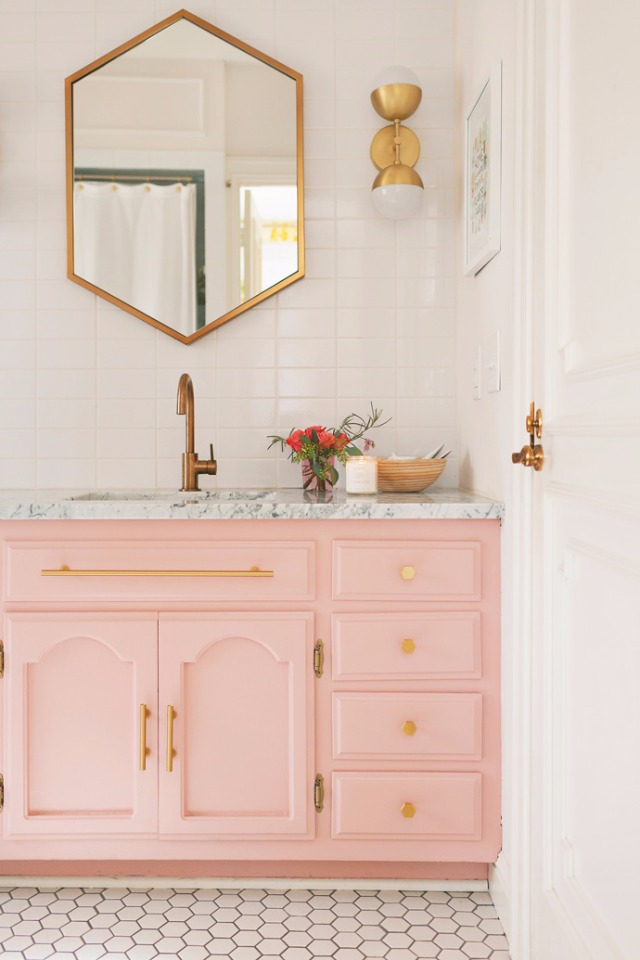 Pink and gold remodel bath
