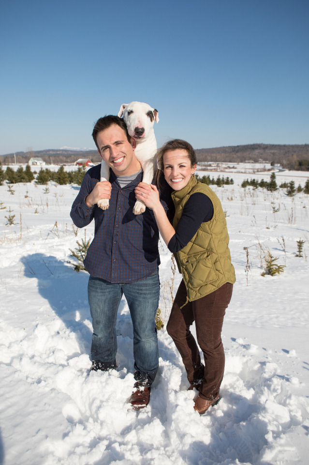 cute winter engagement session with dog