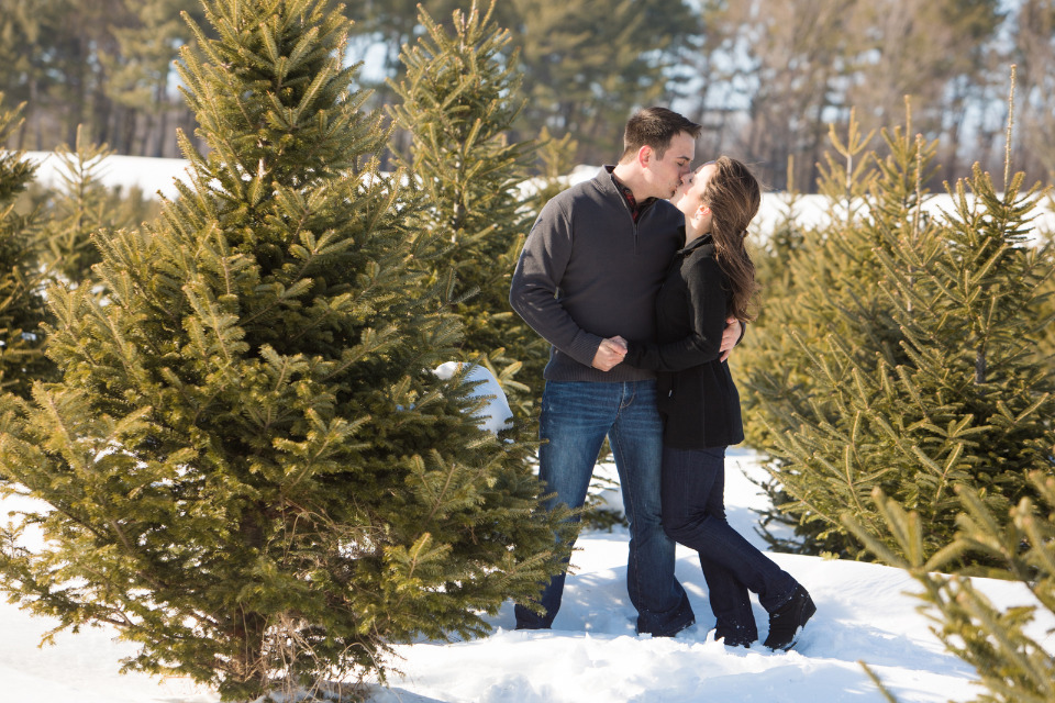 cute tree farm kiss photograph