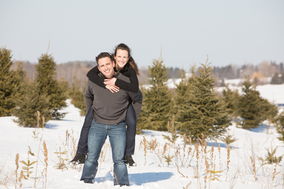 tree farm winter engagement