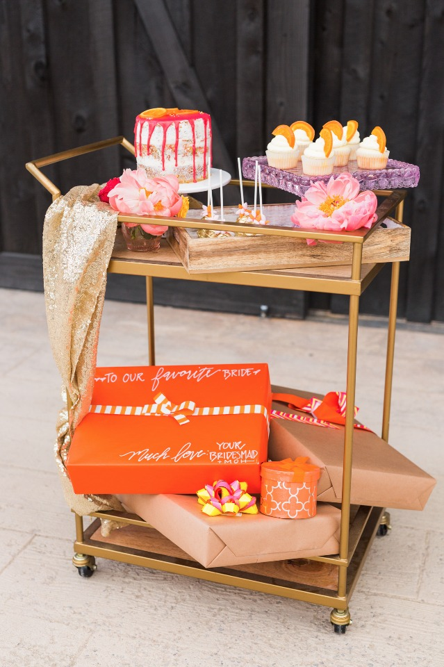 Bridal shower dessert cart