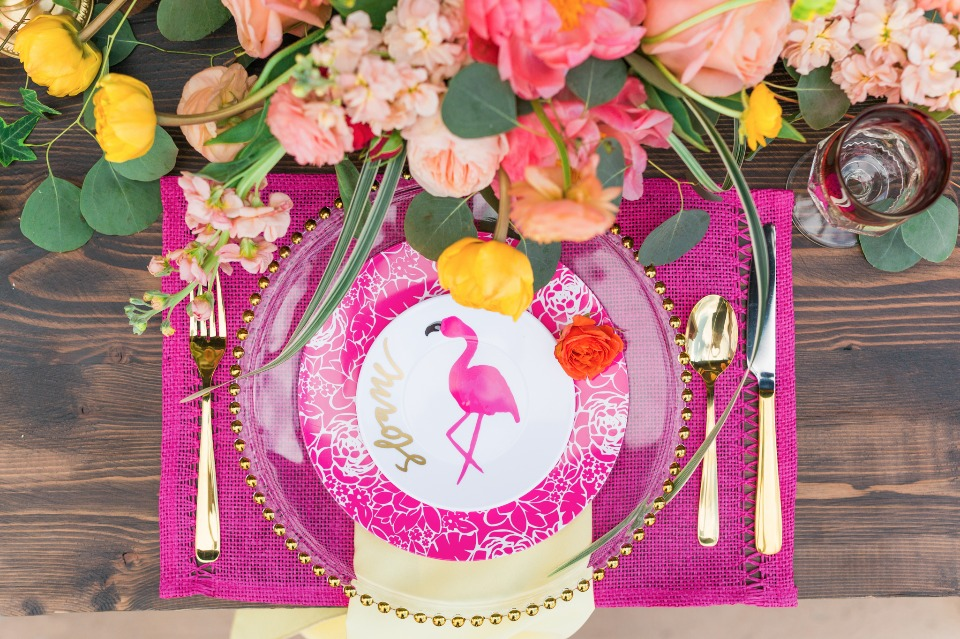 Tropical bridal shower with flamingo plates