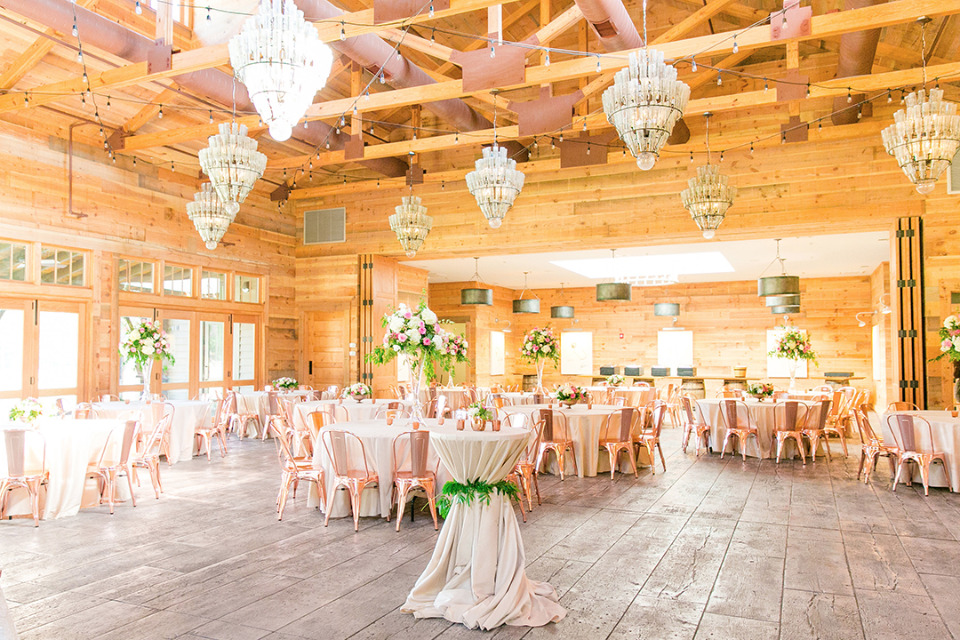 pink copper and champagne wedding reception