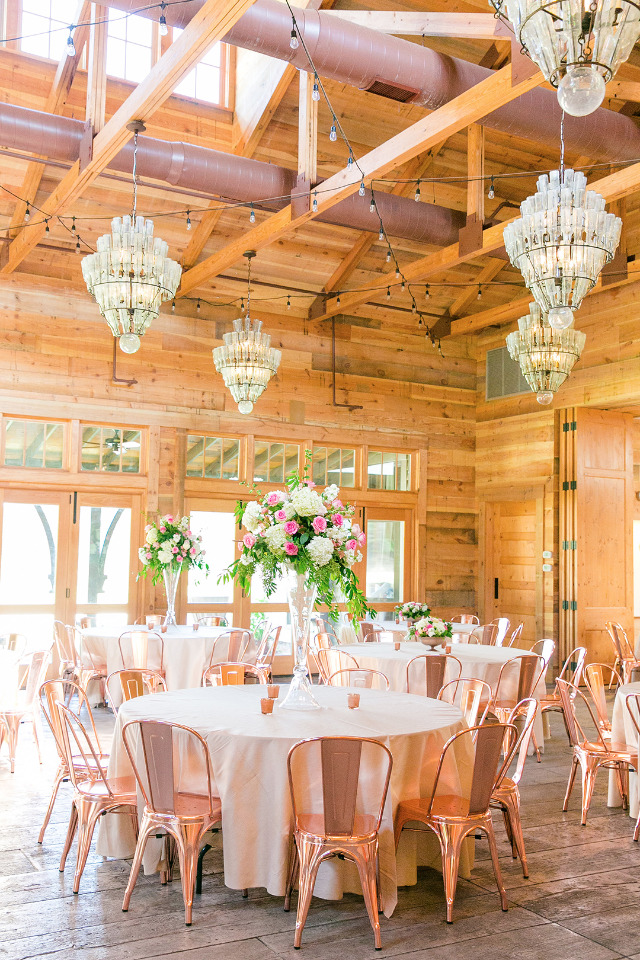 pink and copper wedding reception