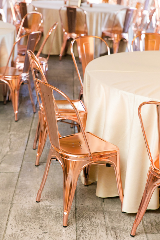 copper industrial wedding chairs