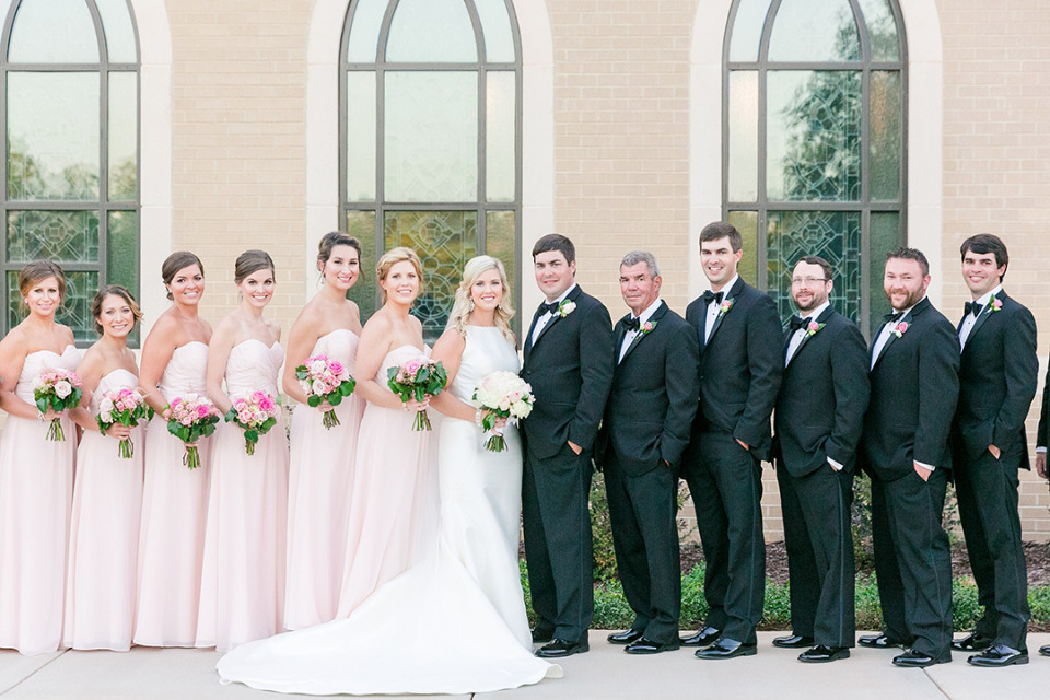 classic pink and black wedding party