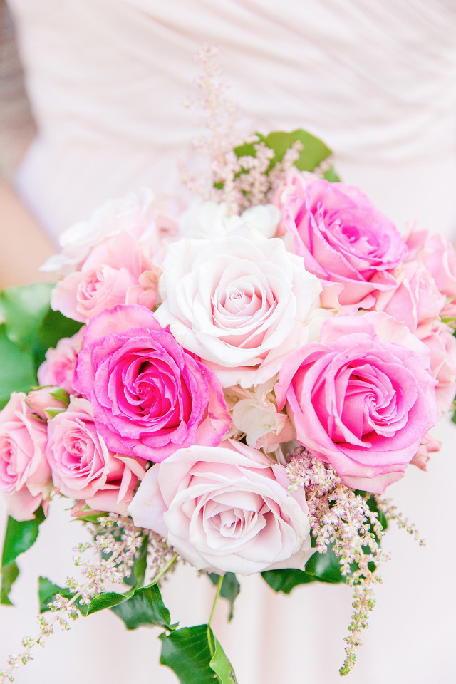 mixed pink rose bridesmaid bouquet