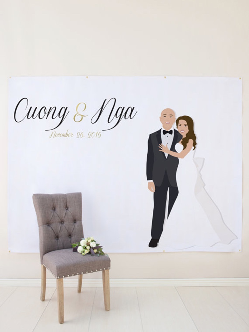 Miss Design Berry's modern wedding photo backdrop measures 6 feet x 8 feet and is made of heavy duty matte vinyl, and makes awesome