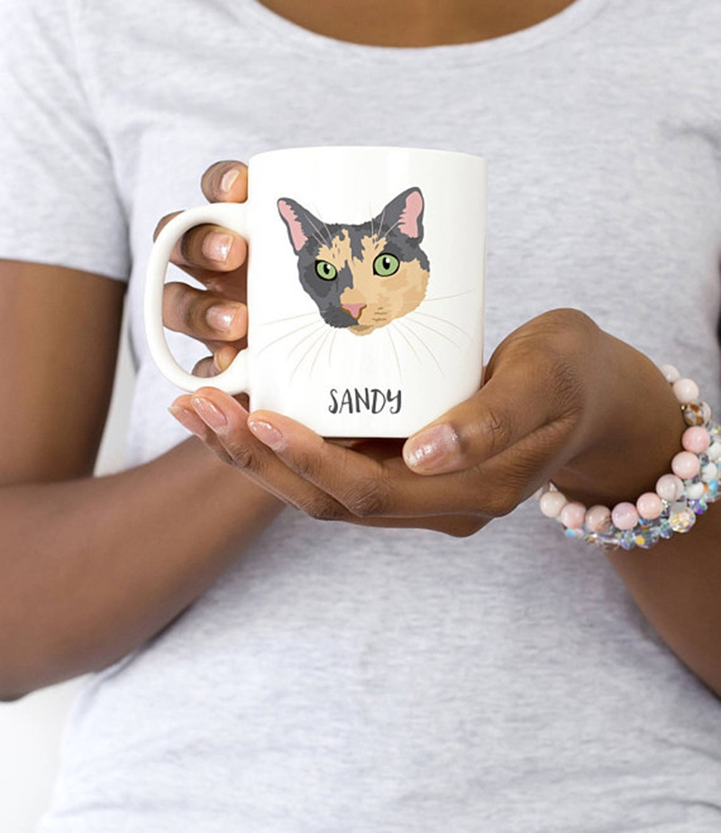Miss Design Berry's custom mug features a pet portrait of your cat or dog! We base the illustration off of photos you provide and this