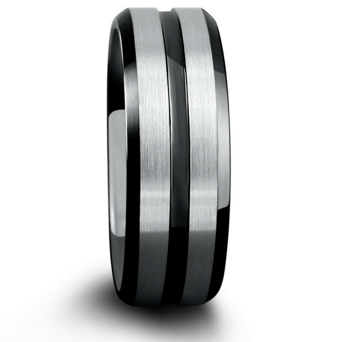 Mens black and silver tungsten wedding ring with a black carved channel running through the center of the ring.