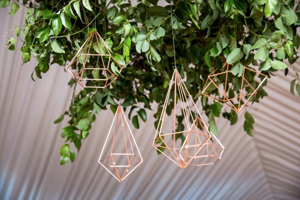 modern greenery and geometric chandelier