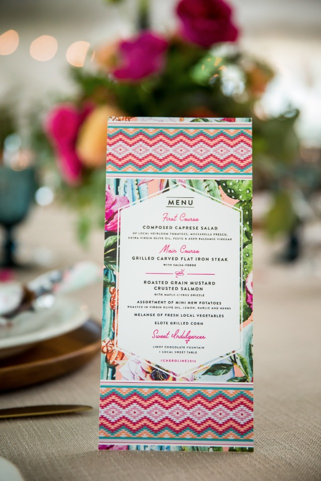 wedding menu with floral and southwest prints