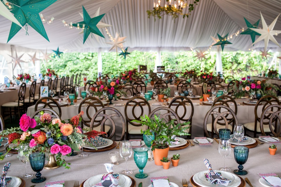 teal, white and fuchsia wedding reception